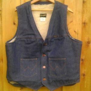 WRANGLER Vintage Sheepskin Denim Vest Mens XL USA